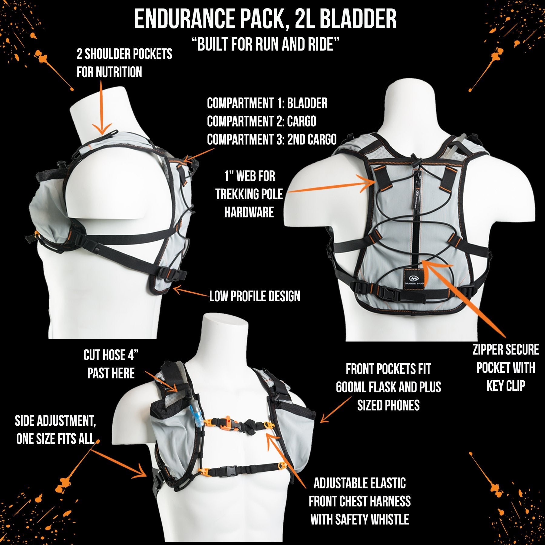 Last Years Model! Endurance Pack 4L - V1.0 (2L bladder 4L cargo): Ideal for running or mountain biking almost every distance. - Hydration