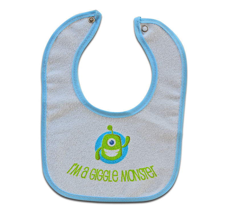 White bib with baby blue outline featuring the Giggle Monster and the text I'm a Giggle Monster