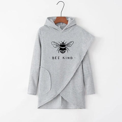 Bee Kind Irregular Solid Pockets Casual Hoodies