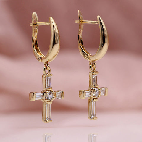 Wedding Party Exquisite Fashion Cross Long Earrings
