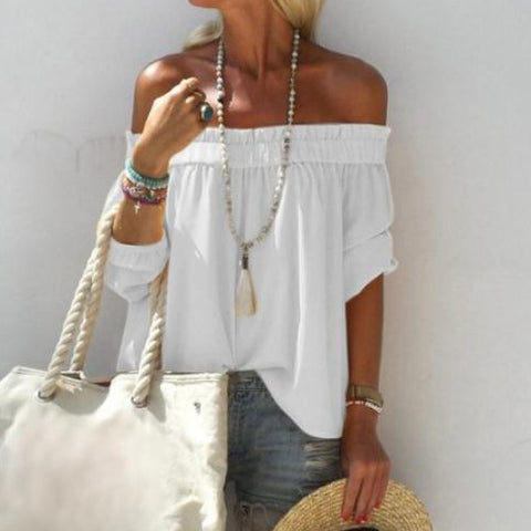 Solid Color off-shoulder Short-Sleeved Pleated Collar T-Shirt