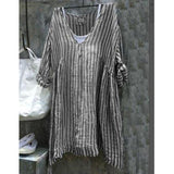 Loose Casual V-Neck Striped Bat Sleeve Plus Size Shirt