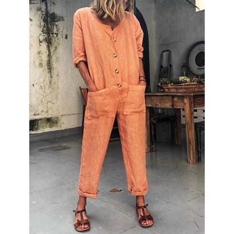 Casual Buttoned Long Sleeve Plus Size Jumpsuits