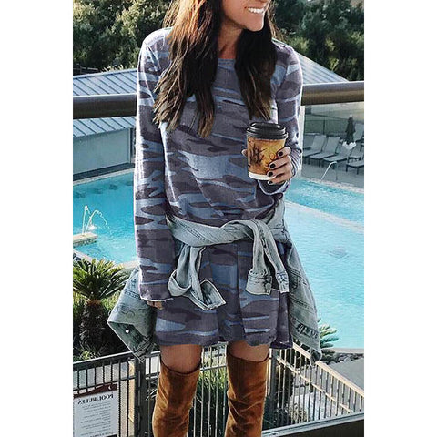 Camouflage Long T-Shirt Long Sleeve Dress