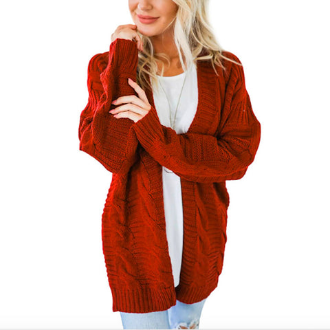 Twist Cardigan Solid Color Long Sweater