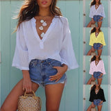 Deep V-Neck Loose Casual Long-Sleeved  Summer Plus Size T-Shirt