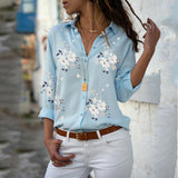 Fashion Long Sleeve V-Neck Print Shirt