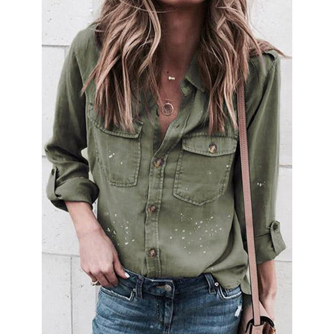 Cotton Casual Long Sleeve Pockets Blouses