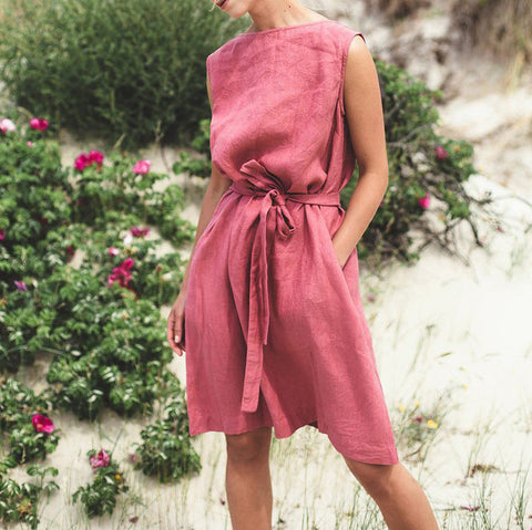 Summer Solid Color Sleeveless Dress