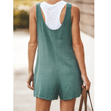 Solid Color Pocket With Strap Jumpsuit