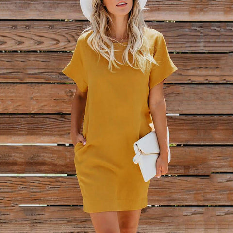 Casual Short Sleeve Pocket Dress
