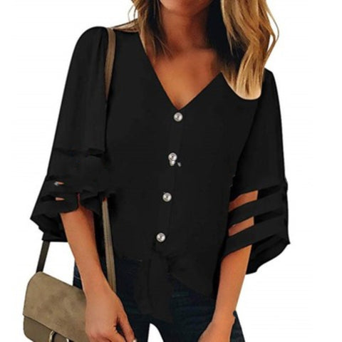 Flare Sleeve V Neck Loose Women's Chiffon Blouse