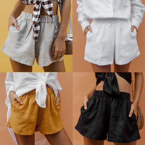 Woman Summer High Waist Solid Color Shorts