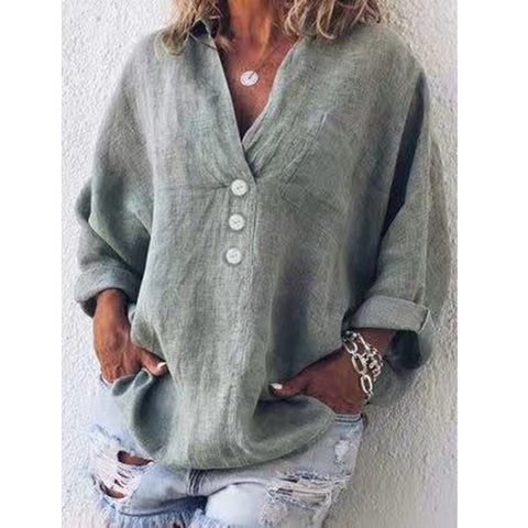 Plus Size Button Solid Color V-Neck Long-Sleeved Pullover Shirt
