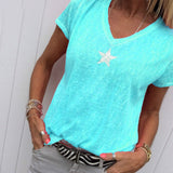 Summer Plus Size Loose Casual V-Neck Short-Sleeved T-Shirt