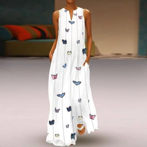 Butterfly Printed Maxi Shift Plus Size Dress