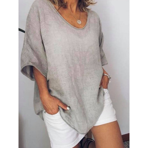 Summer Plus Size Short Sleeve Casual V Neck Blouse