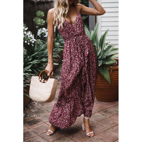 Summer Women Sexy Bow Floral Camisole Maxi Dress