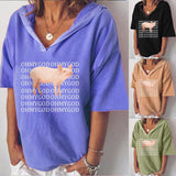 Short Sleeve Loose T-shirt Hooded Blouse