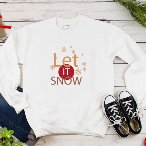 Let It Snow Plus Size  Christmas Holiday Long Sleeve Women's Autumn Sweatshirts