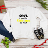 OWL I Want for Christmas Is You Holiday Plus Size Women's Autumn Sweatshirts
