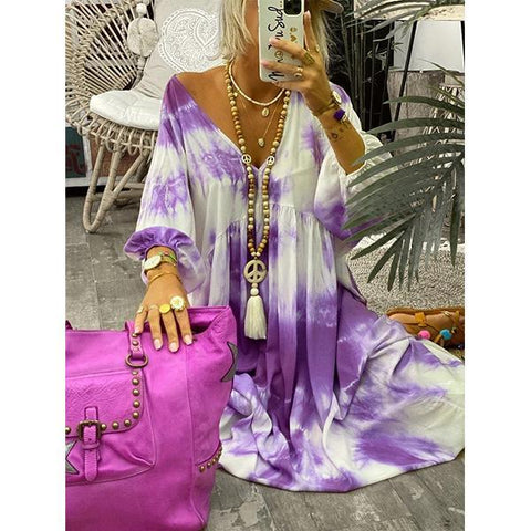 Women Summer Casual V-neck Long-sleeved Tie-dye Maxi Dress