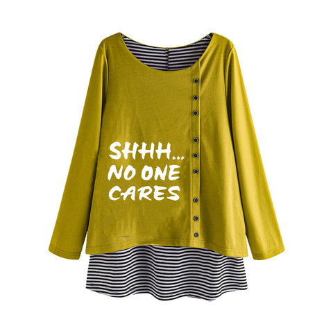 Shhh No One Cares Fake Two-piece Striped Plus Size Autumn Women's Sweatshirts