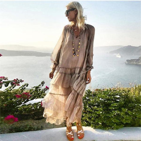 New Long Sleeve Solid Color Splice Maxi Dress
