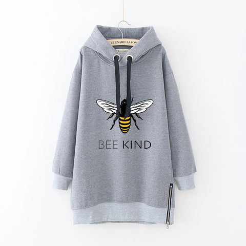 Bee Kind Autumn Winter Drawstring Loose Plus Size Long Sleeve Women's Hoodie