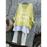 Best Cat Mom Ever Summer Loose Plus Size T-Shirt Set