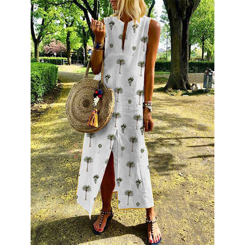 Summer Crew Neck Women Dresses Shift Daily Leaf Printed Plus Size Dresses