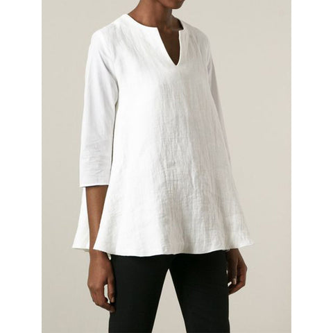 V Neck 3/4 Sleeve Simple & Basic Blouse&shirts