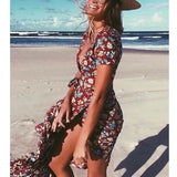 Floral Deep V-neck Bohemia Wrap Dress