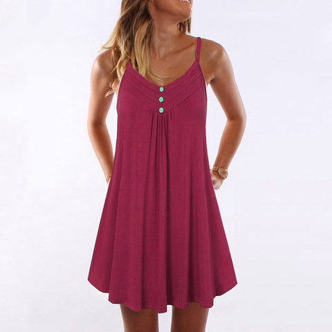 Summer Spaghetti Strap Double Breasted Plus Size  Plain Shift Dress