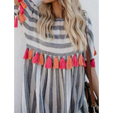Crew Neck Casual Striped Dress