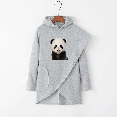 Lovely Panda Astronauts Irregular Solid Pockets Casual Hoodies