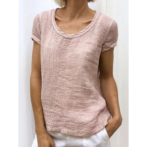 New Summer Round Neck Solid Color Short-Sleeved T-Shirt