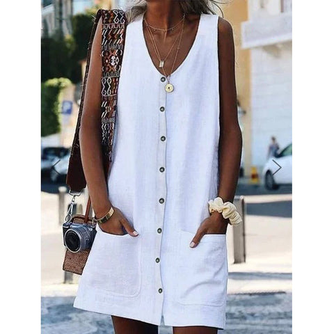 V-Neck Pocket Button Sleeveless Cardigan Dress
