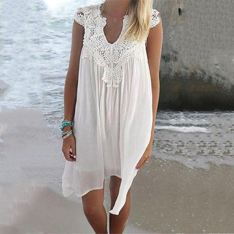 Sexy Lace Up Open Work Solid Color Dress
