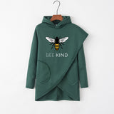 Bee Kind Irregular Autumn Winter Long Sleeve Women Hoodie