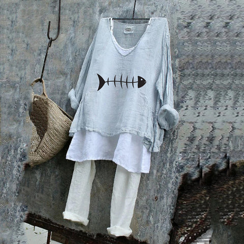 Fish Bone Spring Summer Loose Plus Size T-Shirt Set