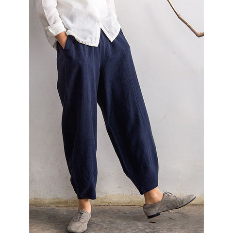 Casual Solid Pockets Elastic Band Pants