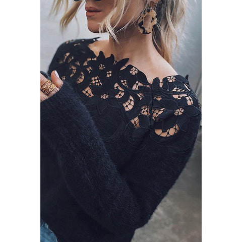 Solid Color Stitching Lace Long Sleeve Sweater