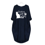 Crazy Cat Lady Casual Loose Women's Plus Size Autumn Dress