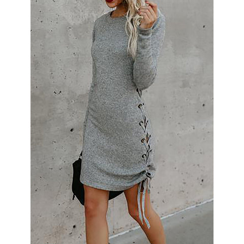 Solid Crew Neck Casual Spring  Dress