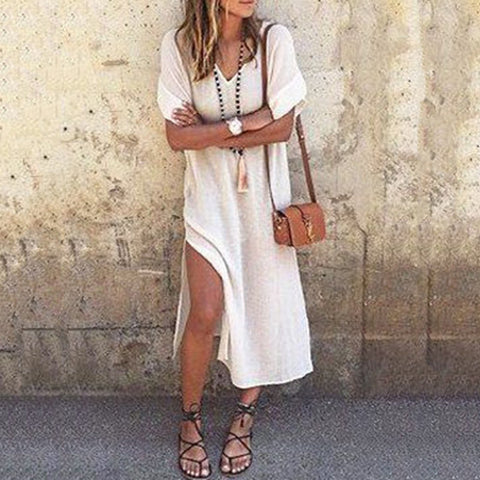 Stylish Solid Color V-neck Hem Slit Long Dress