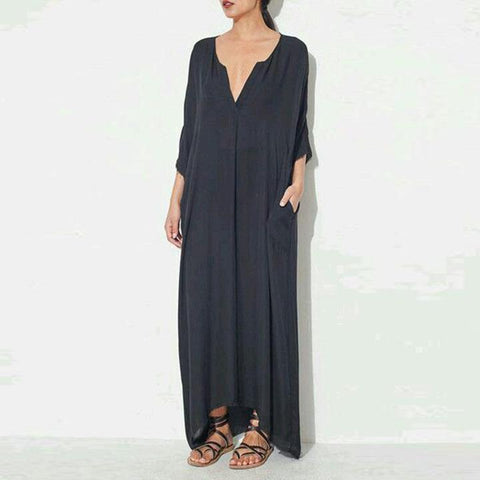 Women V Neck Plain Maxi Dress