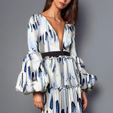 Sexy Feather Printed Split Joint Maxi Dress