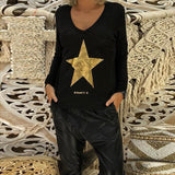 Fashion V Neck Long Sleeve Star Printed T-Shirts