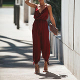 Sexy Deep V Print Sling Bare Back Jumpsuits